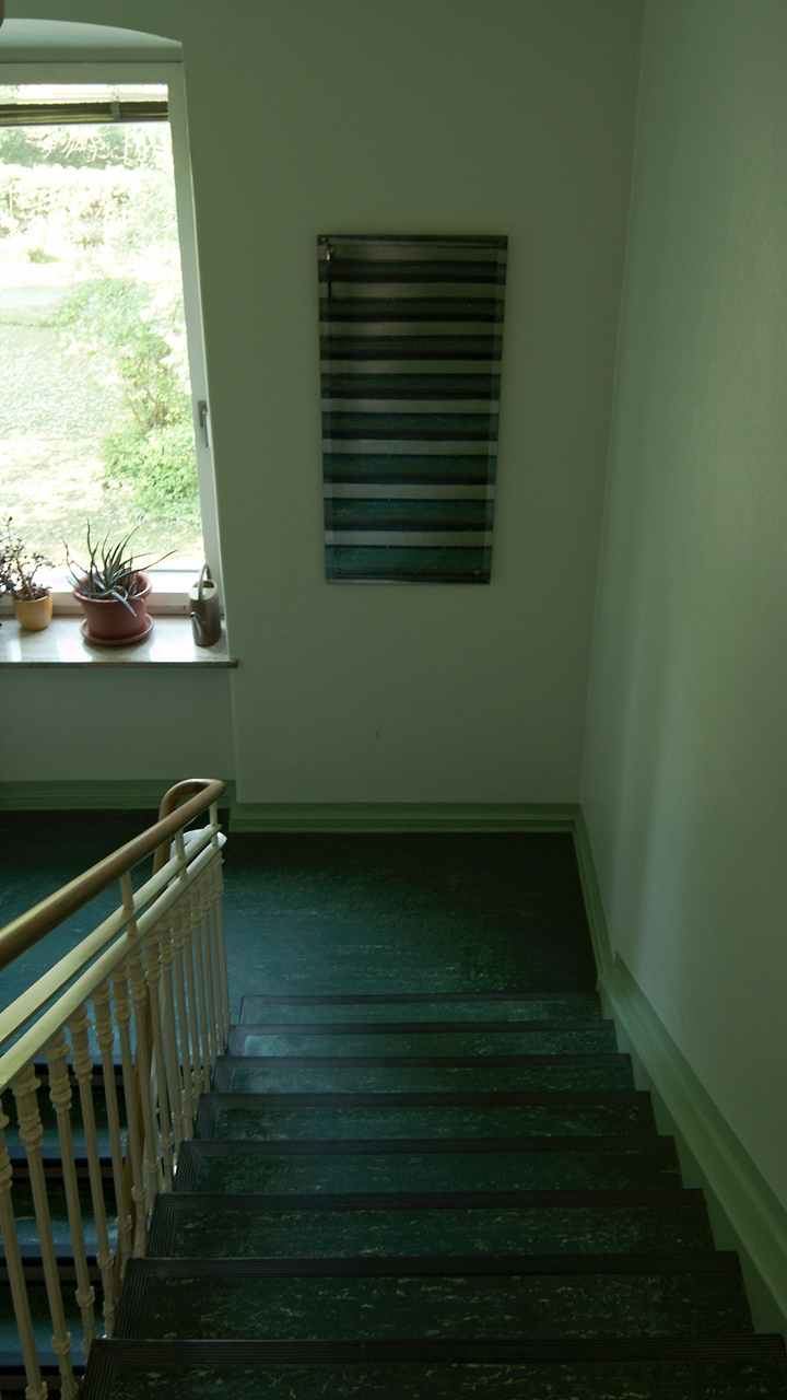 Click to enlarge: Green Staircase [f/4.5, 1/6 sec, 7mm-e, ISO 100, DMC-LX3]