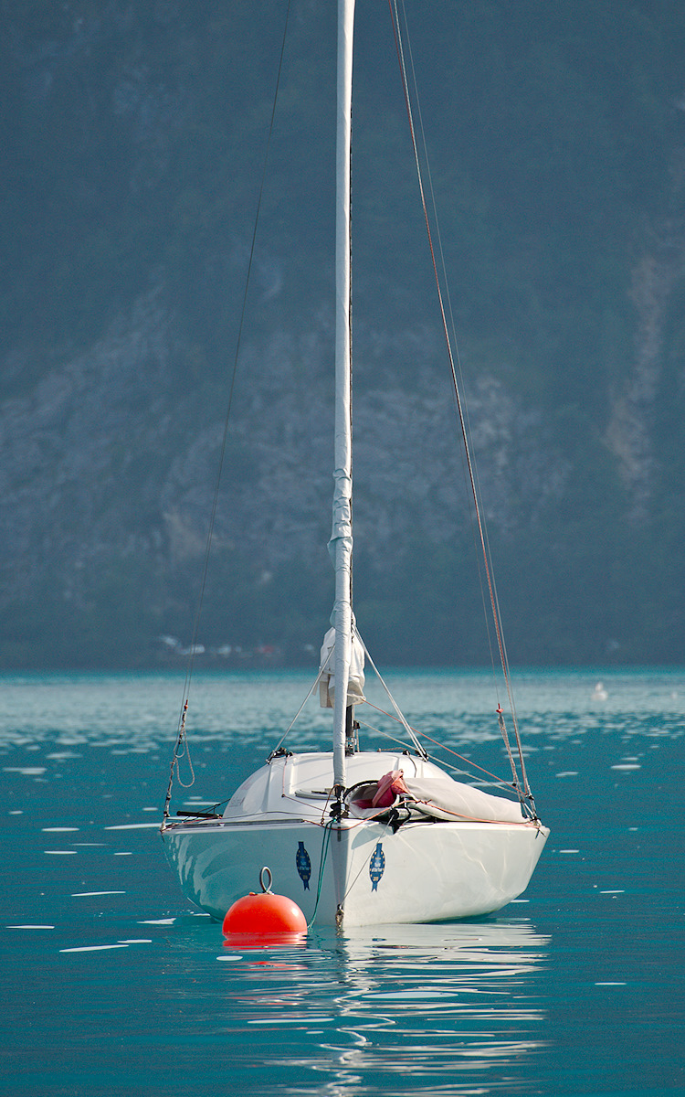 Sailboat on buoy at Attersee, Austria