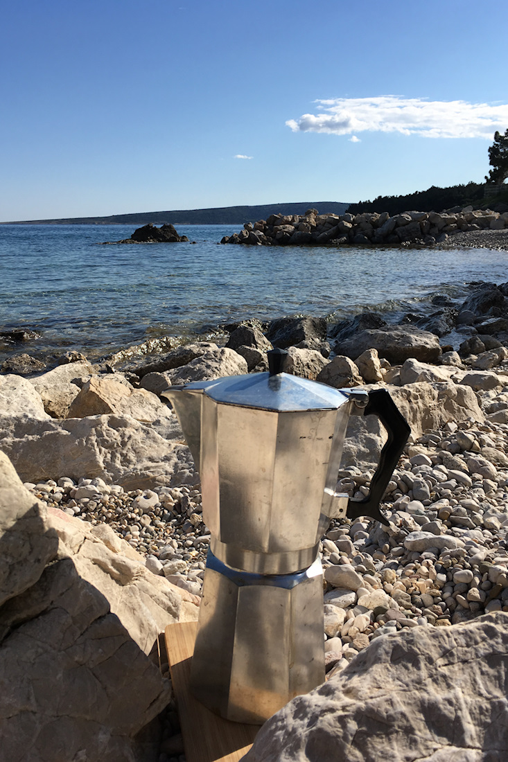 Bialetti espresso cooker on Jezevac beach, Krk, Croatia