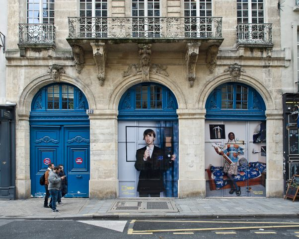 Larger than Life, Advertisment, Rue de Fourcy, Paris, France, Urban, blue