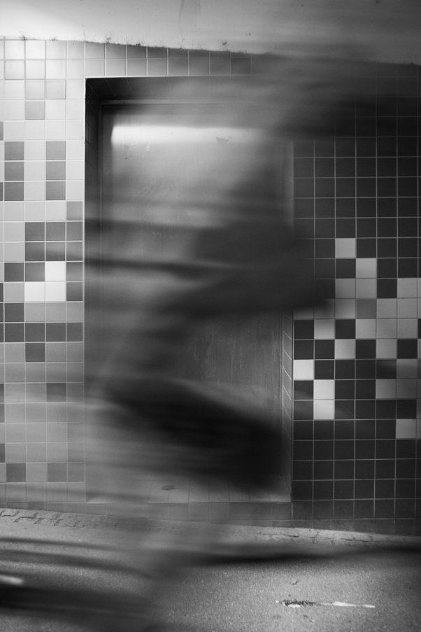 Ghost Biker, Bahnhofstraße 2, Freilassing, Black & White, Urban, motion blur, geotagged