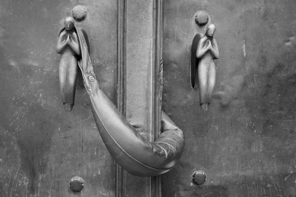 Keeping the Door open, Bürgersaalkirche, Munich, Black & White