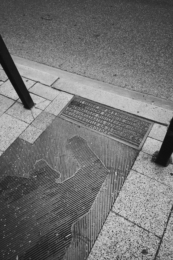 Kurt Eisner Memorial, Kardinal-Faulhaber-Straße, Munich, Black & White, Politics, Urban