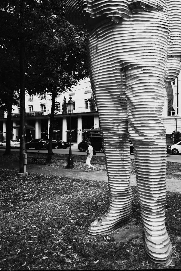 The big Shoes of Montgelas, Promenadenplatz, Munich, Black & White, Urban