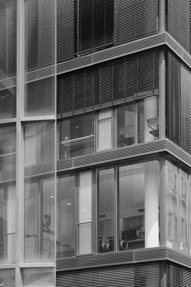 Thoughts are free, office building facade in Marstallstraße 8, Munich, geotagged, Black & White, Urban