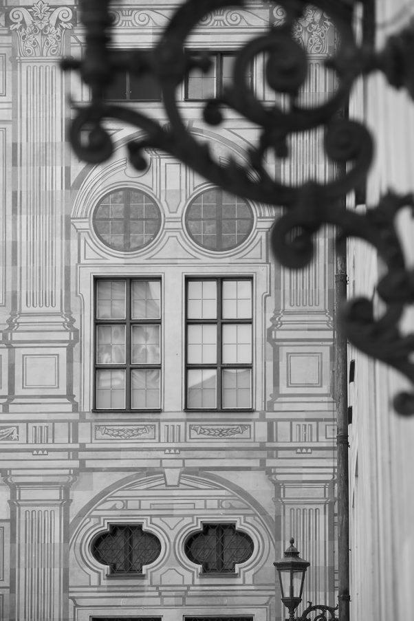 Trompe l'oeil Wall, Münzhof der Residenz, Munich, geotagged, Black & White, Urban