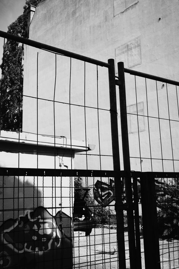 Fence and Window Remnants, Brückenstraße 20, Berlin, geotagged, Black & White, Common Places, Urban