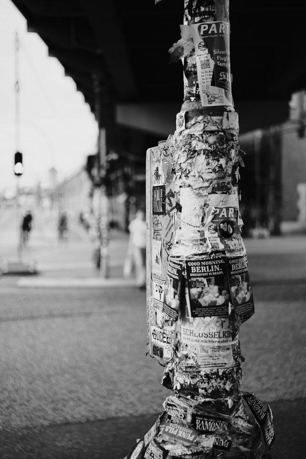 Advertisement Overflow, Near Warschauer Str., Berlin, Advertisements, Black & White, Common Places, Urban