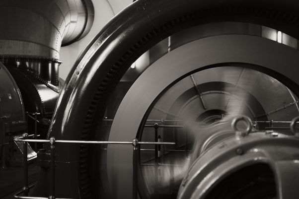 Historic Generator, Thumseestraße 25, Bad Reichenhall, geotagged, Black & White, Treatment
