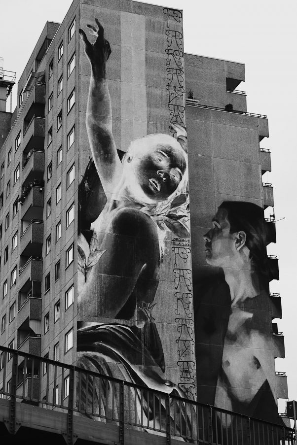 Ultralarge Mural, Gitschiner Straße 37, Berlin, geotagged, Black & White, Common Places, Urban