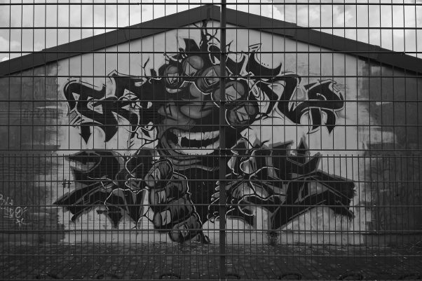 Fingers Mural, Friedrich-Engels-Straße, Lübbenau/Spreewald, geotagged, Black & White, Common Places, Graffiti, Urban