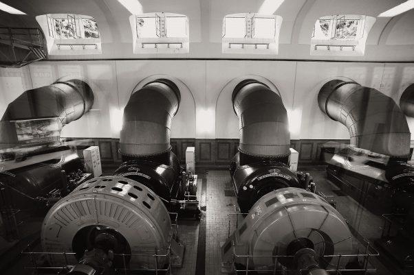 Generator Hall, Saalachkraftwerk, Thumseestraße, Bad Reichenhall, geotagged, Black & White, Treatment
