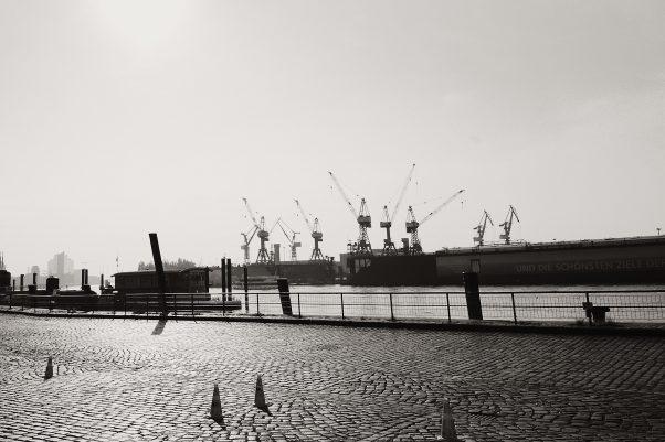 More Backlight - Elphi afar, Fischmarkt, Hamburg, geotagged, Black & White, Common Places, Urban