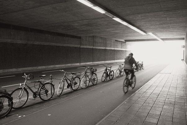 Into the Light, Dürrenhofstr., Nuremberg, geotagged, Bicycle, Black & White, Common Places, Urban