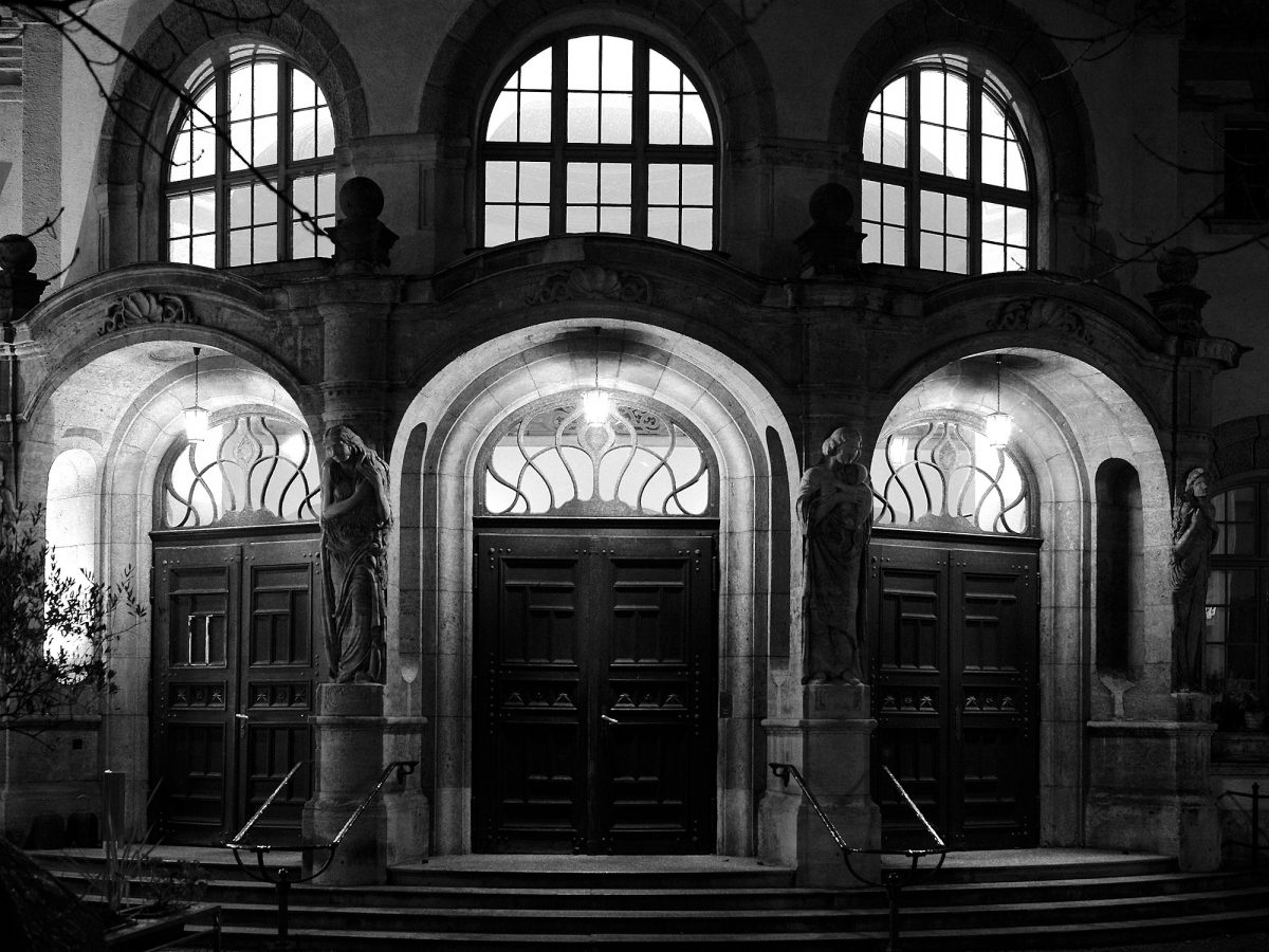 Müllersches Volksbad, Zellstr., Munich, Architecture, Art Nouveau, Black & White, Common Places, Urban