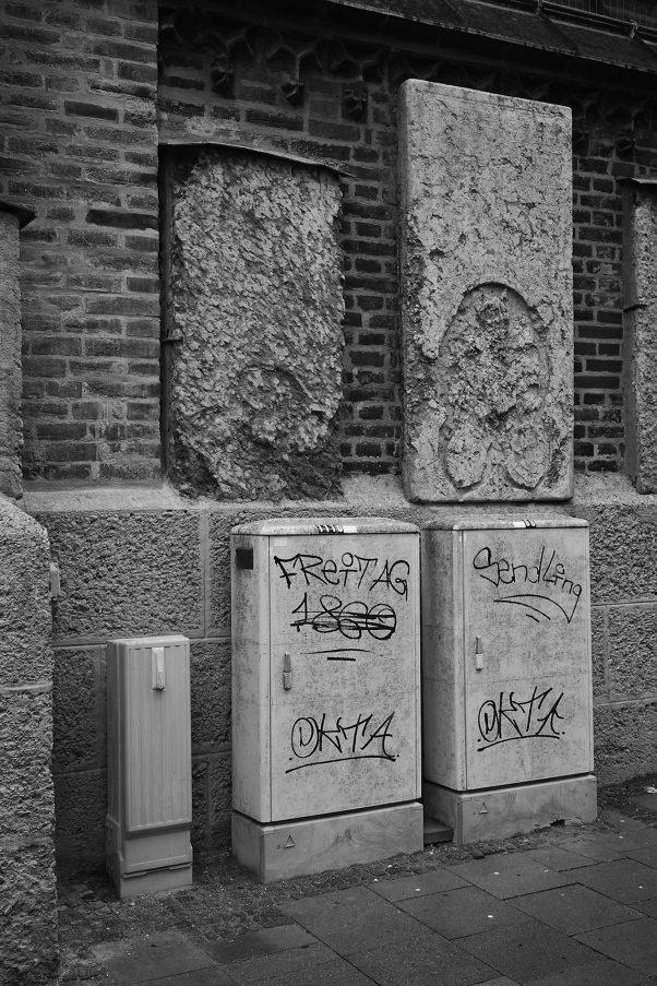 Steles on a Church Wall, Frauenkirche, Munich, Black & White, Urban