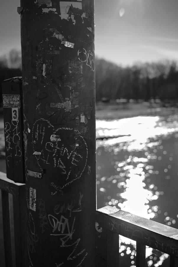 Chalk Heart, Corneliusbrücke, Munich, Black & White, Graffiti, Urban