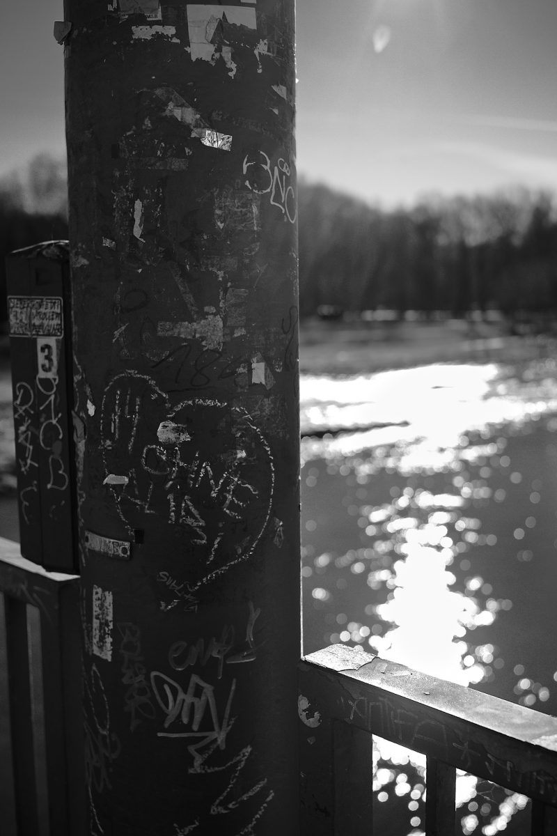 Chalk Heart, Corneliusbrücke, Munich, Black & White, Graffiti, Urban