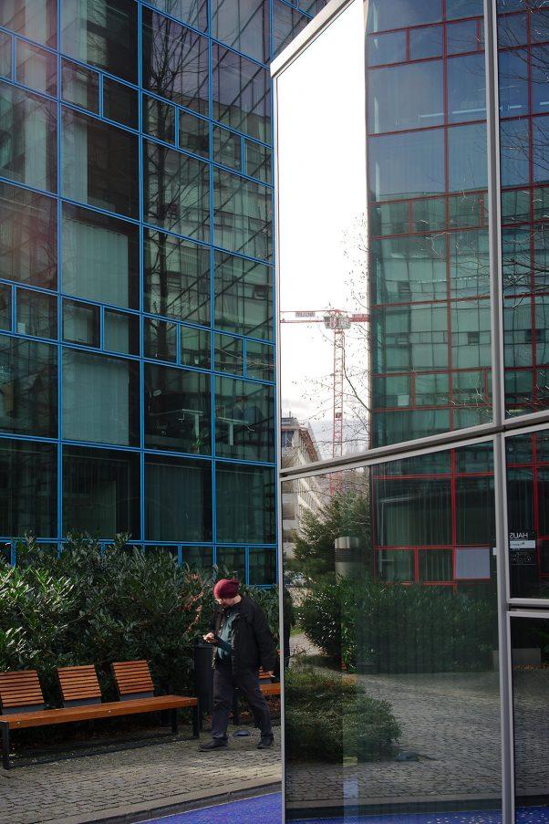 Rasters and Reflection, Near Stiglmaierplatz, Munich, Architecture, Reflections