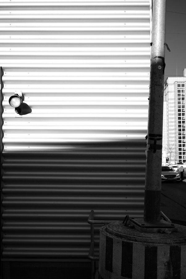 Corrugated Tin Sheet and other Structures, Arnulfstr., Munich, Black & White, Urban