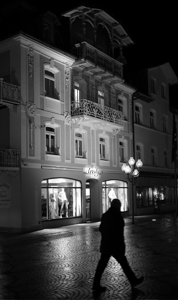 Lonely Pedestrian, Ludwigstr., Bad Reichenhall, Black & White, Urban